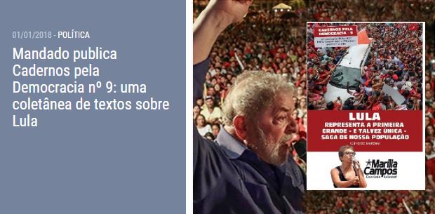 Mandado publica Cadernos pela Democracia nº 9: uma coletânea de textos sobre Lul