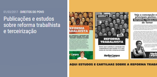 Publicações e estudos sobre reforma trabalhista e terceirização